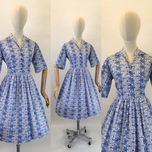 Load image into Gallery viewer, Original 1950s Cotton Day Dress - In a Lovely Cobalt Blue and White Scribble Fabric