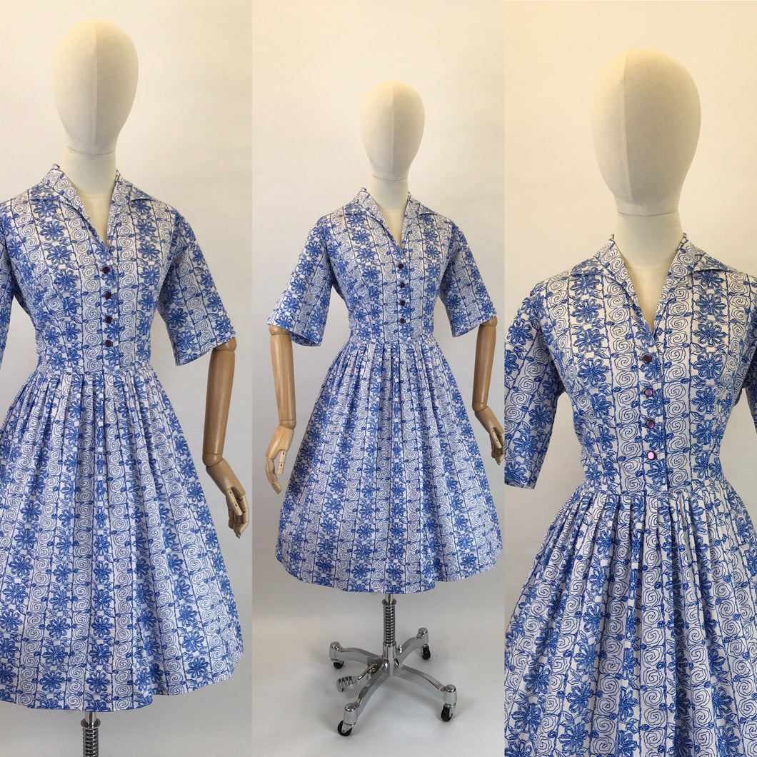Original 1950s Cotton Day Dress - In a Lovely Cobalt Blue and White Scribble Fabric