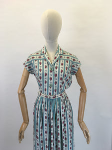Original 1950's ' St. Michael' Floral Cotton Day Dress - In Beautiful Blues, Pinks, Greens and Whites