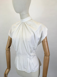 Original 1950's High Neck Blouse - Made From A Crisp White Cotton