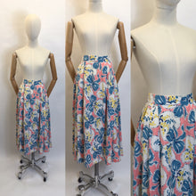 Load image into Gallery viewer, Original Early 1950s Cotton Circle Skirt - Featuring Beautiful Flowers & Ribbons Print