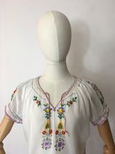 Load image into Gallery viewer, Original 1940's Embroidered Blouse - Featuring Beautiful Embroidered Detailing in Rainbow Colours