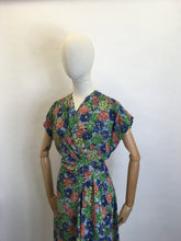 Load image into Gallery viewer, Original 1940's STUNNING Floral Rayon Wrap Dress - Beautiful Waterfall Hip Swag