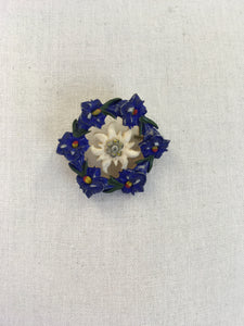 Original 1940s Celluloid Edelweiss Brooch in a Floral Garland - In a Lovely Colour Pallet