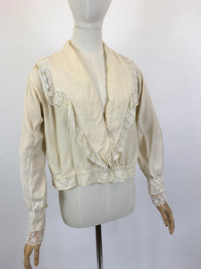 As Is - Original 1900's Walking Blouse - In Old Cream Silk with Lace Trim