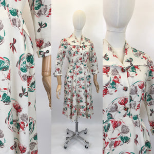Original 1940's STUNNING Moygoshal Linen Novelty Print Dress - Featuring Ballerinas and Bows
