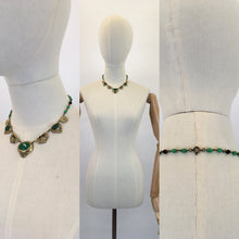 Load image into Gallery viewer, Original 1930s STUNNING Deco Necklace - Brass and Classic Deco Green Glass Beads