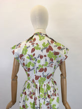 Load image into Gallery viewer, Original 1950s Crisp Cotton Day Dress - In Autumnal Shades of Warm Browns, Soft Greys and Bright Olive Green