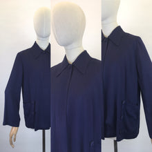 Load image into Gallery viewer, Original 1940s Stunning Navy Swagger Jacket - In a Lightweight Gab Fabric with lovely Button Detailing