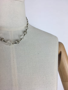 Original 1930's Necklace - In Glass Beads with Marquesite Detailing and Screw Back Clasp