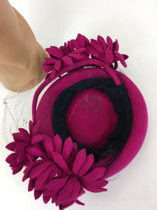 Original 1940's Fabulous Fuchsia Pink Tilt Hat - With Back Plate and Floral Adornments