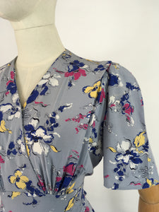 Original 1940s Cornflower Blue Floral Dress - With a Beautiful 40's Silhouette