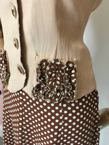 Original 1940's Darling 2 pc Crepe Suit - In the Most Beautiful Contrast Blush Pink & Brown Polka Dot Crepe