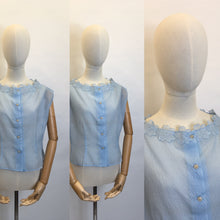 Load image into Gallery viewer, Original 1950's Sheer Blouse in a lovely Powder Blue - Featuring Floral Detailing to the Neckline