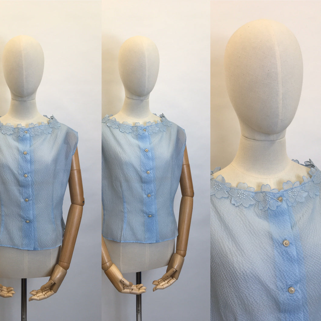 Original 1950's Sheer Blouse in a lovely Powder Blue - Featuring Floral Detailing to the Neckline
