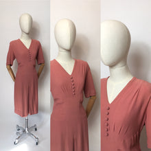 Load image into Gallery viewer, Original 1940's Rose Pink Crepe Dress - Lovely Panelled Waist Detailing