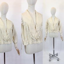 Load image into Gallery viewer, As Is - Original 1900's Walking Blouse - In Old Cream Silk with Lace Trim