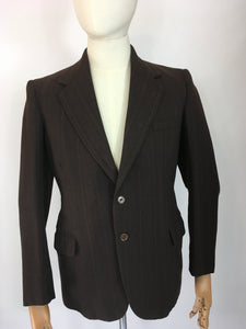 Original 1940's CC41 Montague Burton Jacket - In a Lovely Brown with Orange and Pink Pinstripe