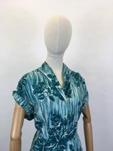 Load image into Gallery viewer, Original 1950's VOLUP Cotton Day Dress - In A Lovely Rich Teal Colour Floral