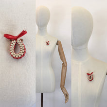 Load image into Gallery viewer, Original 1940's Make Do and Mend Telephone Cord Brooch - In Red and White