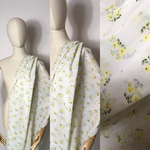 Original 1950s Sheer Nylon Dress Fabric - Lovely Yellow Ditsy Floral  3.5 m