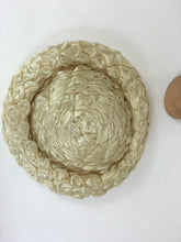 Load image into Gallery viewer, Original 1950's FABULOUS Soft Cream Raffia Platter Hat - With Structured Inner Band