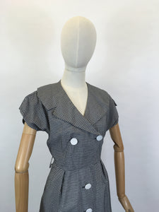 Original 1950's Fabulous Cotton Day Dress - In A Black And White Gingham Check