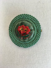 Load image into Gallery viewer, Original 1940's Make Do and Mend Telephone Wire Brooch - In A Festive Red and Green Colour Pallet