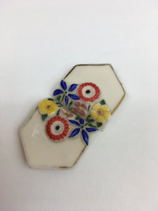 Original 1930's Beautiful Milk Glass Buckle - With Florals in Brights and Faded Gilding