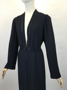 Original 1930s Lightweight Summer Coat - In a Lovely Navy Crepe