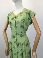 Load image into Gallery viewer, Original Late 1940's ' St. Michael' Cotton Day Dress - In a Beautiful Green and Black Stencilled Floral Print