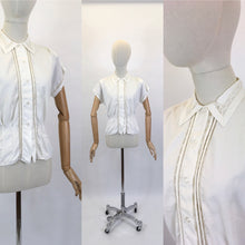 Load image into Gallery viewer, Original 1950's ' Weber' Blouse in Crisp White - Featuring Lace and Pintuck Detailing to the Bodice