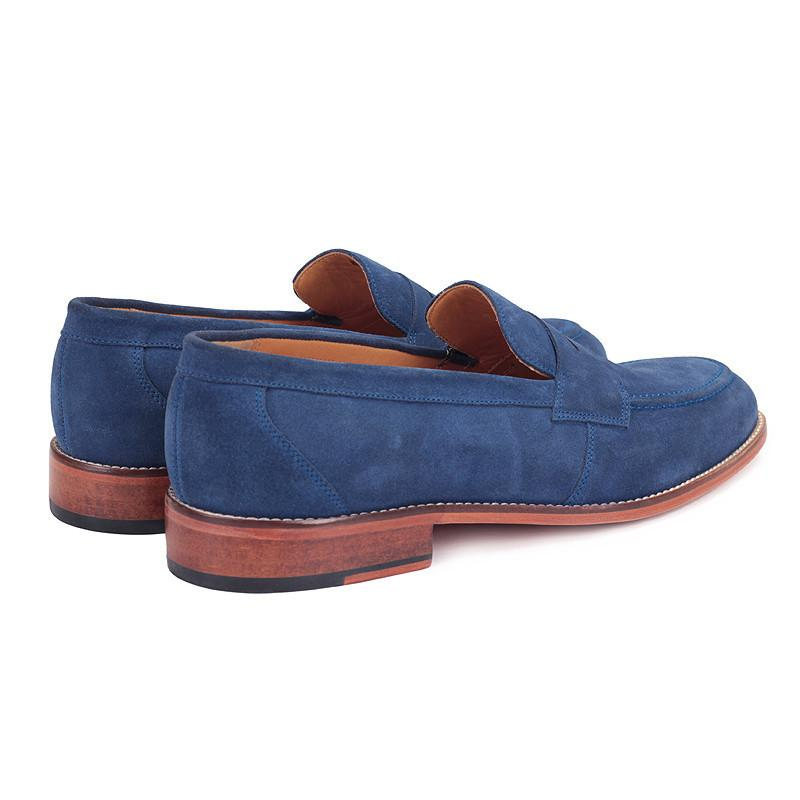 Knight & Bond-belfast suede penny loafers-Blue
