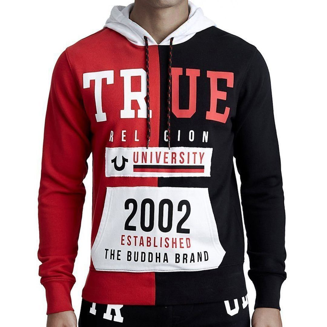 Split Tr University Pullover Hoodie-True Religion-Elitify
