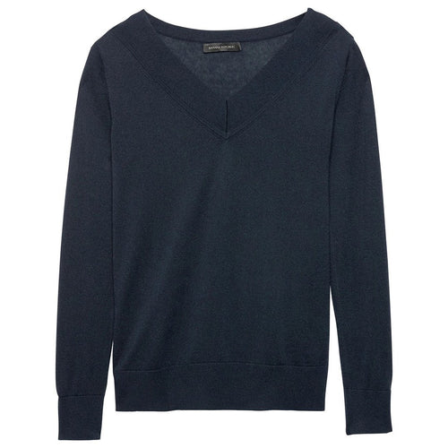 Silk Cashmere Varsity V-Neck SweaterBanana Republic-Elitify