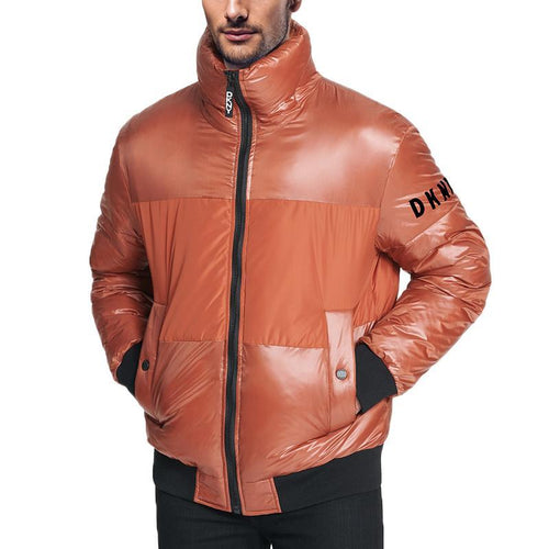 Mixed Media Puffer Bomber Jacket-DKNY-Elitify