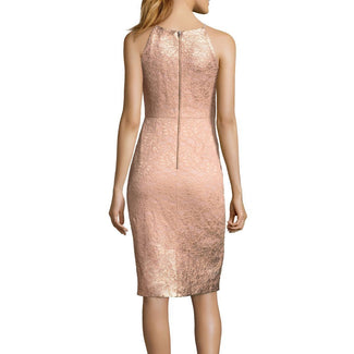 Metallic Lace Halter Dress With Exposed Zipper-Adrianna Papell-Elitify