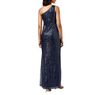 One-Shoulder Sequined Gown-Adrianna Papell-Elitify