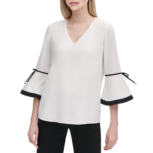 White Women Contrast-Trim Top-Calvin Klein-Elitify