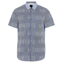 Armani Exchange Blue Men Striped Shirt-Elitify