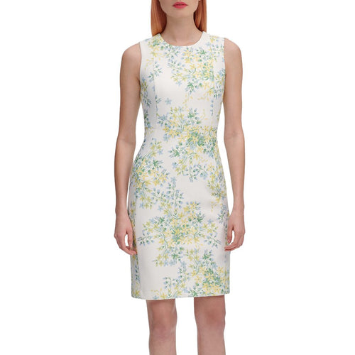 Popcorn Floral-Print Sleeveless Sheath Dress-Calvin Klein-Elitify