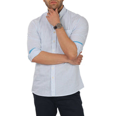 Knight and Bond Aqua City Striped Untucked Shirt-Elitify