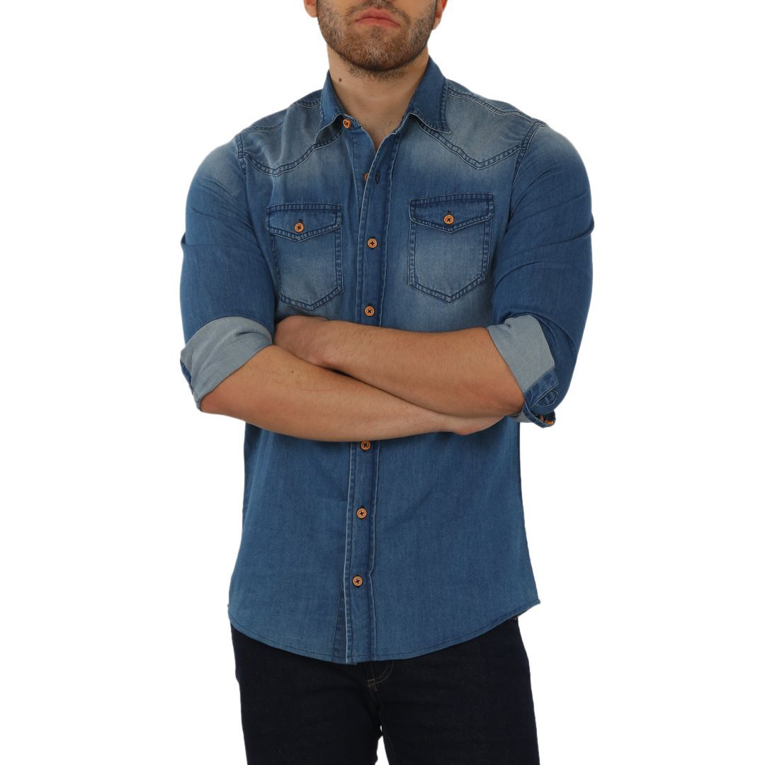 Knight and Bond Blue Denim Washed Untucked Shirt-Elitify
