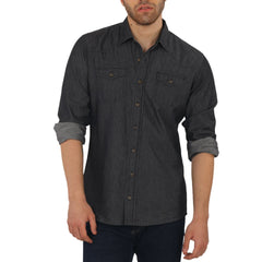 Knight and Bond Black Denim Washed Untucked Shirt-Elitify