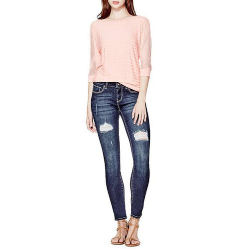 Sienna Curvy Skinny Jeans In Dark Destroy Wash-Guess-Elitify
