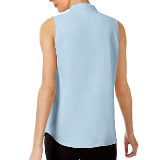 Blue Women Pleated V-Neck Shell-Calvin Klein-Elitify