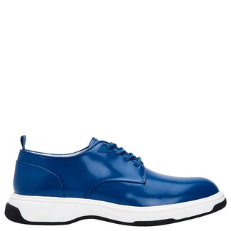 Blue Plain Toe Leather Sneakers-Calvin Klein -Elitify