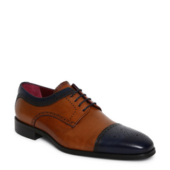 JOE SHU Genuine Leather Blue / Tan Lace-Ups-Elitify