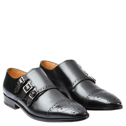 Toecap Triple Strap Brogue Monk With Gimping & Medallion