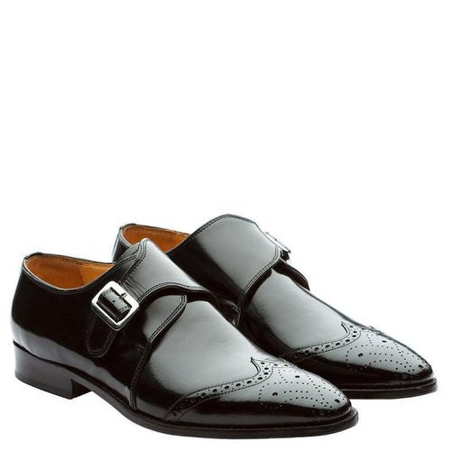 Wingcap Single Strap Brogue Monk With Medallion Brush Off Black
